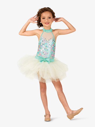 Girls Sweetheart Sequin Halter Costume Tutu Dress - Style No GRA122C