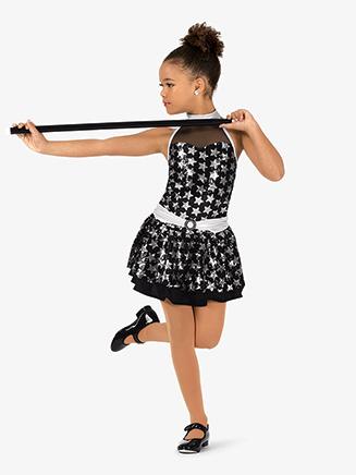 Girls Performance Sequin Stars Two-Tone Dress - Style No GRA159C