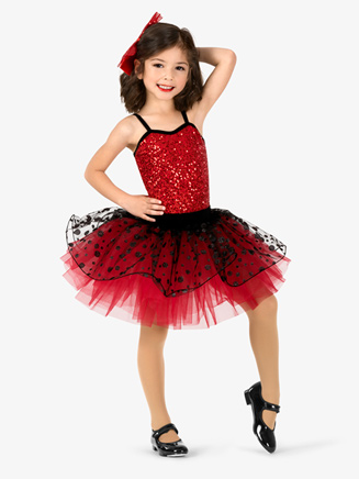 Girls Performance Contrast Sequin Polka Dot Tutu Dress - Style No GRA160C