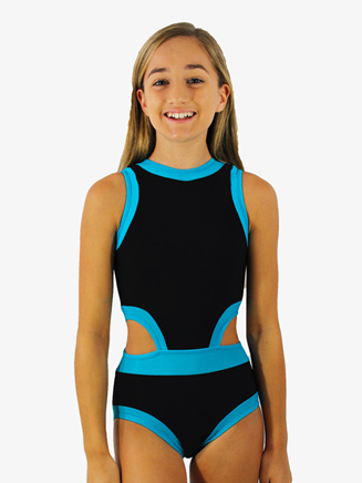 Girls Black and Seablue Cutout Tank Leotard - Style No HCEBSBC