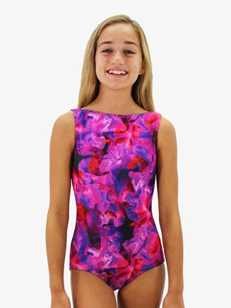 Girls Floral Printed Low Back Tank Leotard - Style No HPLBLC
