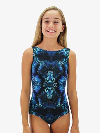 Girls Kaleidoscope Printed Low Back Tank Leotard - Style No HPLINC