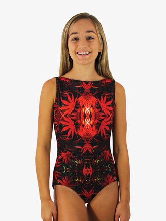 Girls Mystic Floral Printed Low Back Tank Leotard - Style No HPLMGC