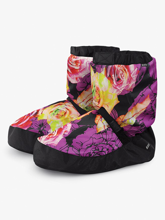 Adult Flower Print Warm-up Booties - Style No IM009FP