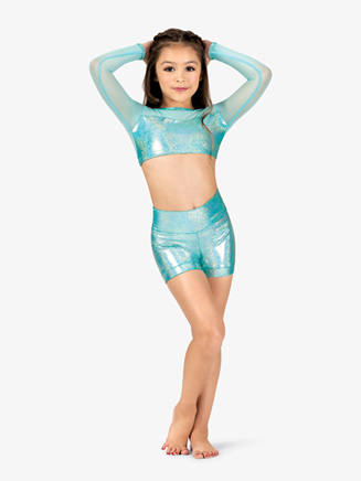Girls Iridescent Metallic High Waist Performance Shorts - Style No ING132C