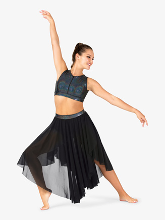Womens Iridescent Metallic Waistband Mesh Performance Skirt - Style No ING138