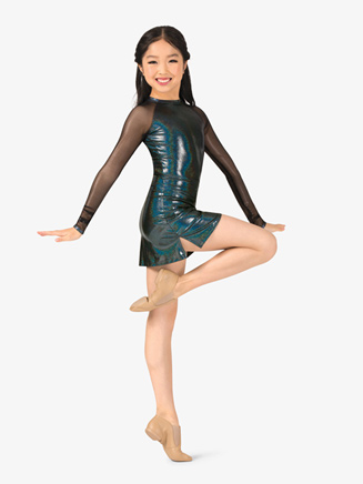 Girls Iridescent Metallic Performance Long Sleeve Dress - Style No ING140C