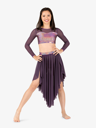 Womens Iridescent Performance Mesh Long Sleeve Crop Top - Style No ING144x