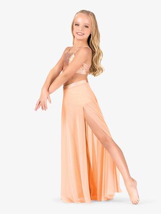 Girls Iridescent Performance Long Mesh Skirt - Style No ING147Cx