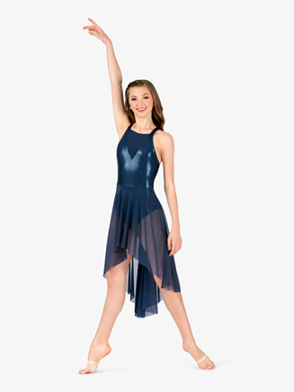 Girls Performance Mesh Front Metallic X-Back Dress - Style No ING162Cx