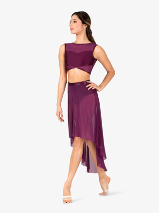 Womens Performance Metallic Waistband High-Low Skirt - Style No ING170x