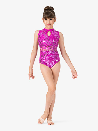 Girls Performance Lace Keyhole Tank Leotard - Style No ING201C