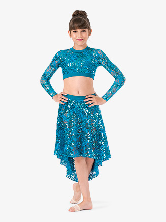 Girls Performance Lace Long Sleeve Crop Top - Style No ING204C