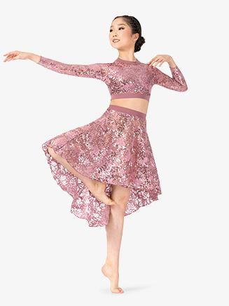 Girls Performance Lace Asymmetrical Skirt - Style No ING206C