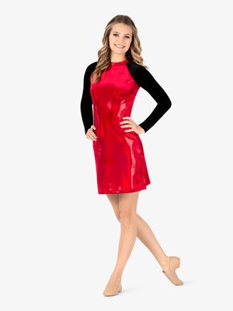Womens Team Sequin Dot Velvet Dress - Style No ING213