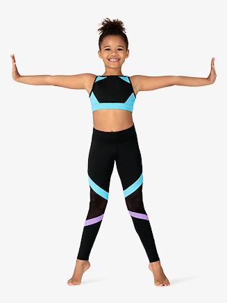 Girls Mesh Insert Dance Leggings - Style No KA041P