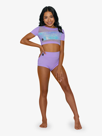 Girls Sequin Insert Short Sleeve Dance Crop Top - Style No KN3030C