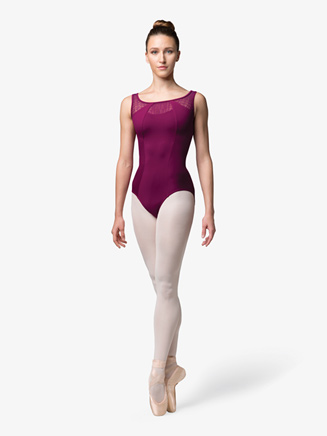Womens Mesh Insert Scoop Back Tank Leotard - Style No L4815