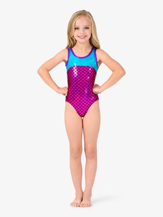 "Girls Tank ""Mermaid"" Sequins V-Back Leotard - Style No L4824"