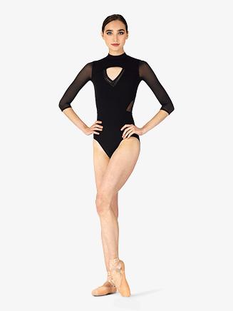 "Womens ""Ligia"" Mock Neck 3/4 Sleeve Leotard - Style No L4856"