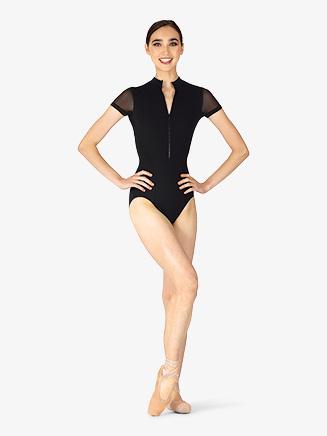 "Womens ""Gwenn"" Mock Neck Short Sleeve Leotard - Style No L8732"