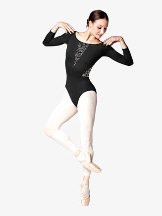 Womens Lily Stripe Mesh 3/4 Sleeve Leotard - Style No L8926
