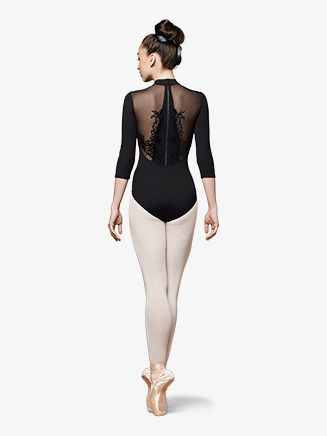 Womens Vine Mesh Zip Back 3/4 Sleeve Leotard - Style No L9809