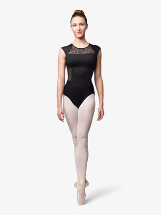Womens Mesh Insert Short Sleeve Leotard - Style No L9812