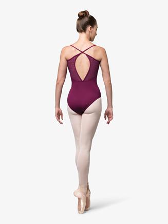 Womens Mesh Insert Crisscross Back Camisole Leotard - Style No L9897