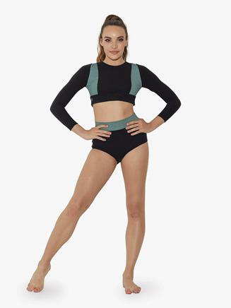 Girls Contrast Heather Long Sleeve Dance Crop Top - Style No LS6750C