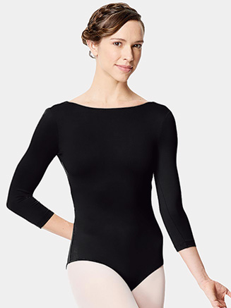 "Womens ""Nanette"" Microfiber Open Back 3/4 Sleeve Leotard - Style No LUB285"