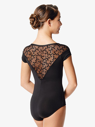"Girls ""Raiane"" Flock Mesh V-Front Short Sleeve Leotard - Style No LUF577C"