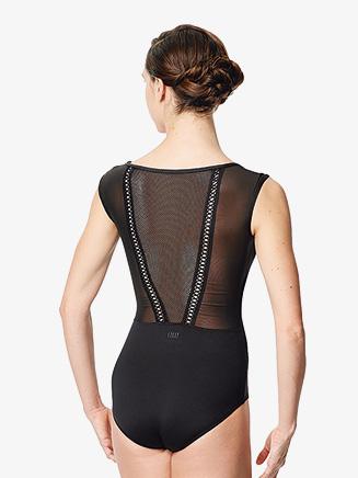 "Womens ""Priscila"" Netted V-Back Cap Sleeve Leotard - Style No LUF593"