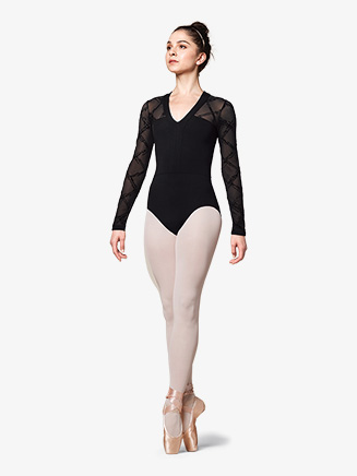 "Womens ""Messina"" Flock Mesh Long Sleeve Leotard - Style No M1014LM"