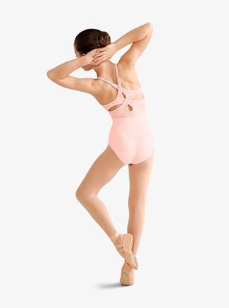 Girls Animal Print Mesh Crossover Back Camisole Leotard - Style No M1206Cx