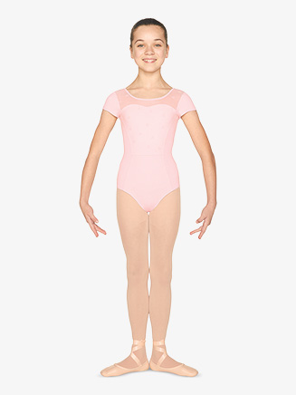 Girls Heart Flock Mesh Short Sleeve Leotard - Style No M1519C