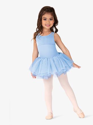 Girls Velvet Mesh Panel Tank Ballet Tutu Dress - Style No M456C