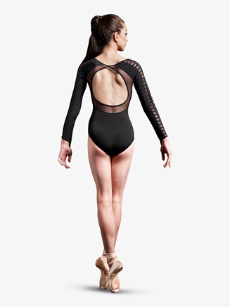 Womens Laser Cut Mesh Long Sleeve Leotard - Style No MJ7208x