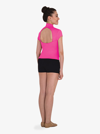 Womens Back Cutout Short Sleeve Dance Top - Style No MT223