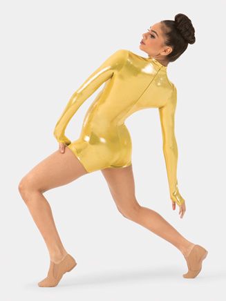 Adult Metallic Long Sleeve Shorty Unitard - Style No N7348