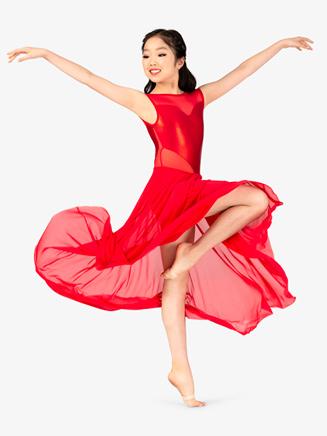 Girls Performance Sweetheart Mesh Short Sleeve Dress - Style No N7583C