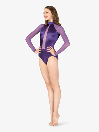 Womens Performance Satin Mesh Insert Long Sleeve Leotard - Style No N7680