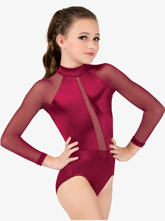 Girls Performance Satin Mesh Insert Long Sleeve Leotard - Style No N7680C