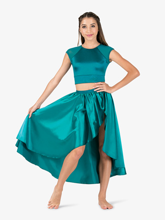 Womens Performance Satin Open Back Cap Sleeve Crop Top - Style No N7696