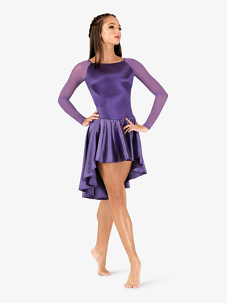 Womens Performance Satin Open Back Long Sleeve Dress - Style No N7697