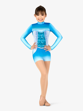 "Girls Performance ""Snow Princess"" Long Sleeve Printed Shorty Unitard - Style No N7757C"