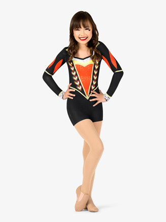 """Girls Performance """"Queen of Hearts"""" Long Sleeve Printed Shorty Unitard - Style No N7760C"""