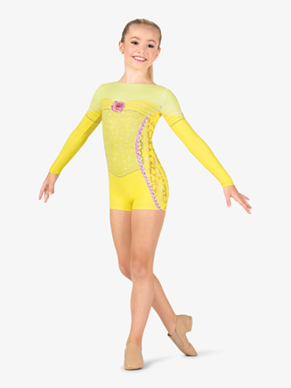 "Girls Performance ""Belle of the Ball"" Princess Printed Shorty Unitard - Style No N7765C"