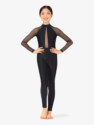 Girls Performance Mesh Long Sleeve Unitard - Style No N7767C