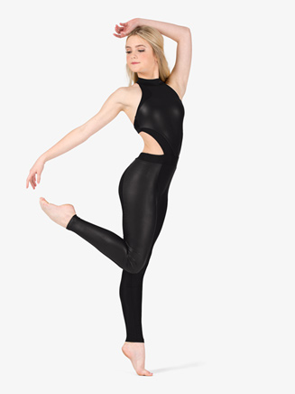 Womens Performance Faux Leather Halter Unitard - Style No N7770